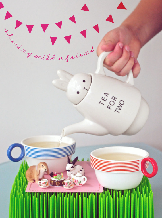 Tea For Two Rabbit Teapot With Bunting