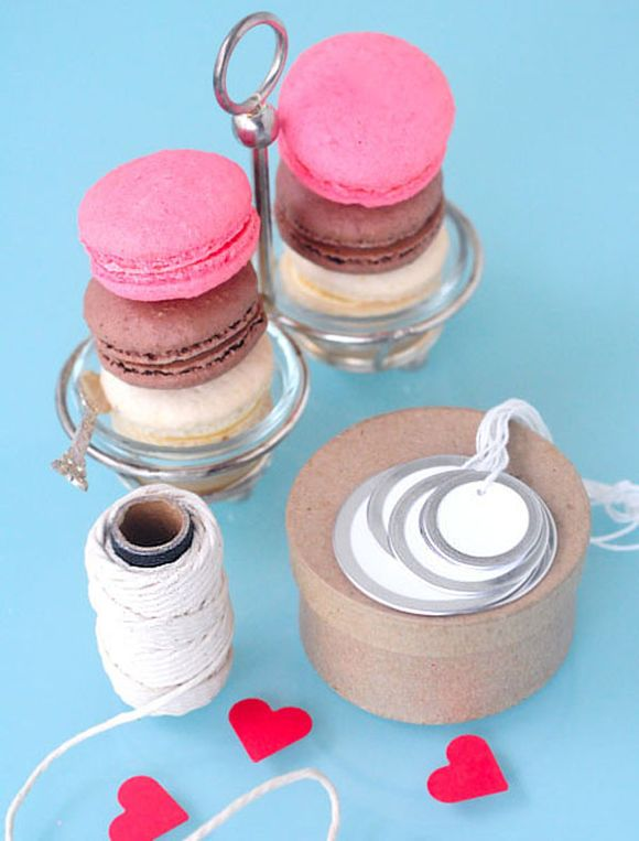 Pink Macarons and packaging for Valentines Day