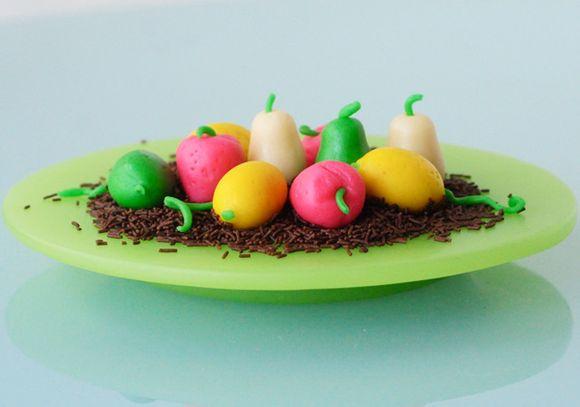 Marzipan-fruit-strawberries,-pears,-lemons-and-limes