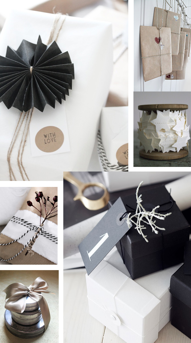 it\'s a wrap! Christmas gift wrapping in black, white and craft paper ...