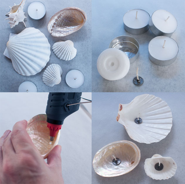 how to make seashell candles diy for under $5 - Go Make Me