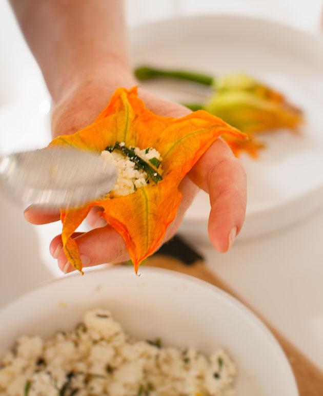Stuffing-zucchini-flowers