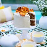 Hummingbird Cake with Dried Pineapple Flowers